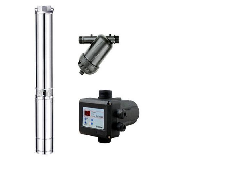eco4 Beregnungs- Paket Tiefbrunnenpumpe mit Rillenscheiben - Filter hnd Drucküberwachung