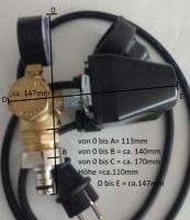 DR1007 -Druckschalter  Type PM/5 1,5 -5bar Made in ITALY Set mit Kabel, 5Wegeadapter und Manometer, fertig montiert